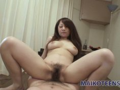 Japanese sluttish bitch Rie Noguchi gives blowjob and rides the cock on top