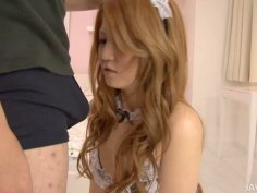 Hot Japanese maid polishes his dick with her lips