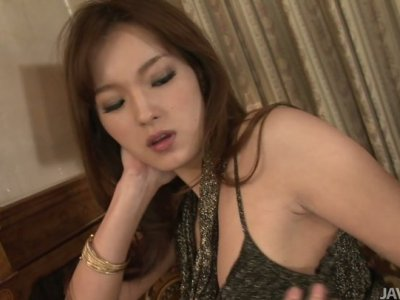 Cute oriental lady Mei Haruka wins ardent and tough threesome fuck