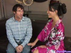 Experienced Asa Akira gives handjob to a shy guy