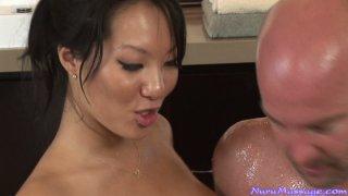 Handjob and erotic massage from Asa Akira and Kina Kai