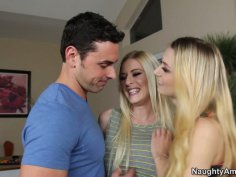 Two hotties Natalia Starr and Riley Evans found out they've got the same boyfriend so they had a hot threesome