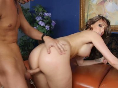Goegeous babe Courtney Cummz sucks the dick and gets hammered from behind
