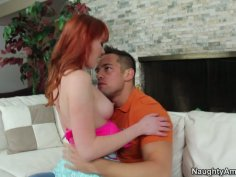 Snow white redhead cutie Marie McCray giving some head