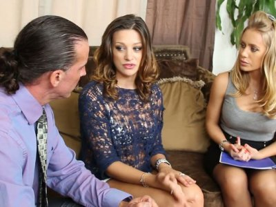 Carmen McCarthy seduces real estate agents Nicole Aniston and her partner to have a hot threesome fuck