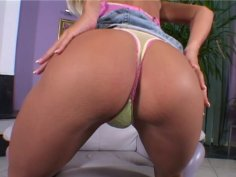 Slim and skanky blonde Titiella Joy shows her flat tits