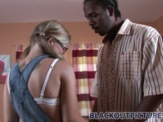 Shy and inexperienced bitch Tabitha James pleases a fat black cock