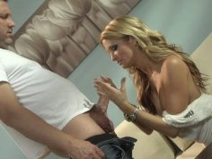 Curvaceous blonde Jessica Drake gets horny for car mechanic