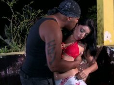 Brutal black dick eats Kelly Amaral pussy outdoors