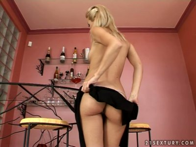 Seductive blonde kitty Sophie Moone hot striptease show