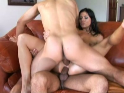 Brunette hottie Dillan Lauren easily takes two fat cocks at the same time