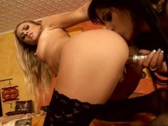 Black Angelika and  Dorina Gold test new dildo toy