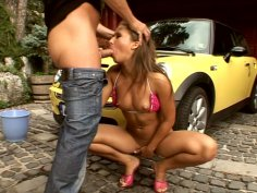 Sandra performs a high quality blowjob and gets thrusted in a doggy position