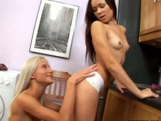 Lesbo fun in the kitchen with Alexa and Reyna