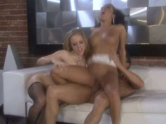 Kinky Kylie Wilde & Maya Gates please a stiff cock by riding it ardently