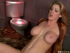 Curvaceous blonde MILF Kayla Paige gets laid over the toilet bawl