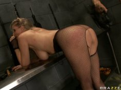 Submissive blonde slut Julia Ann gets her booty whipped