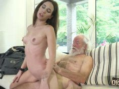 Young babe doggystyle with her very old boyfriend