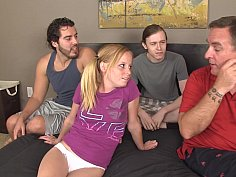 Young pigtailed cutie gets gang-banged