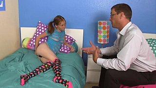 Pigtailed teen takes stepdaddy's load