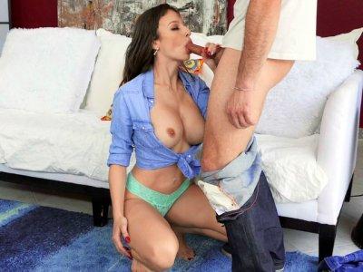 Brunette Lexi Luna on her knees is sucking cock