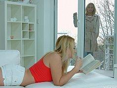 Leggy babe seducing her GF