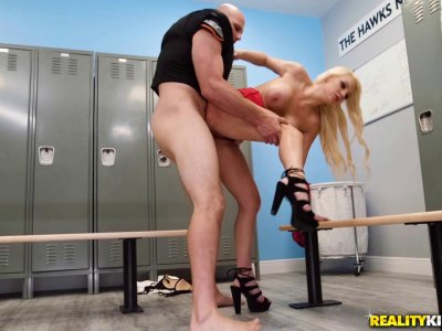 Nasty blonde with massive tits has her pussy nailed deep