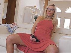 Blonde MILF flashing her pussy