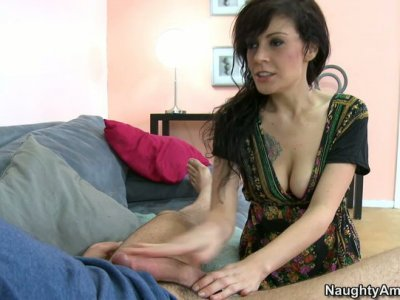 Brunette hipster girl Vanessa Naughty blows cock and titfucks