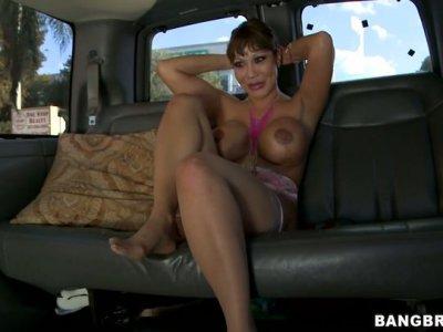Busty rotter Ava Devine sucks several dicks in a truck