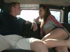 Horny slut Kristina Rose seduces a guy and fucks him in a truck