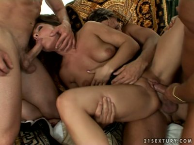 Young and wild brunette Salome gets gangbanged hard
