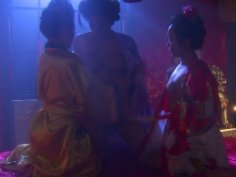 Sexy babes Mya Luanna, Bella Ling and Mia Lelani dress like geishas and have lesbie fun