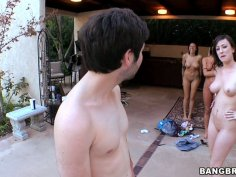 Amateur guys fuck Micah Moore, Juelz Ventura and Jennifer White by the pool