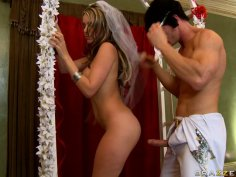 Slutty bride Courtney Cummz sucks a cock near the altar