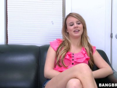 Pretty Alexis Adams strips and fingers her pussy on a casting