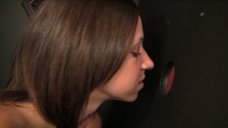 Horny bitch Adrianna Luna sucks Lee Stone's cock through the glory hole