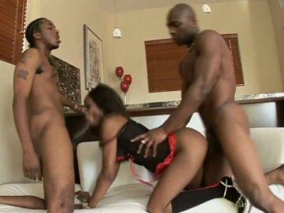 Black chick Hypnotiq does her best in pleasing stiff black dicks