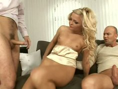 Two dicks put out the fire in the pussy of Jenna Lovely