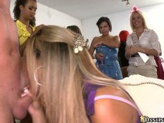 Lots of voluptuous chicks suck the dick of the horny stripper
