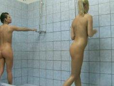 European chick Ally Melane eats her girlfriend in the public shower room