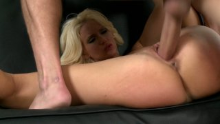 Flexible blonde lady Trixie fucks missionary style on the couch