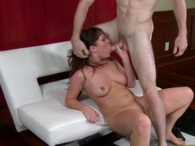 Chunky pale skin MILF takes stud's cock up her pussy doggystyle