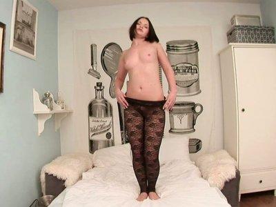 Hussy Russian slut Romana strips moving her body seductively