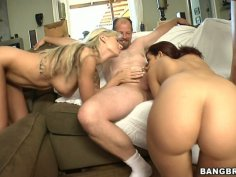 Whorish bitches Brooke Banner, Angelica Heart and Isis Taylor give blowjob to strangers