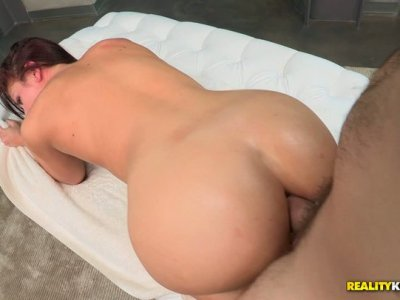 A sensual massage for Mischa Brooks ends up in a hardcore anal pounding action