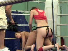 Sultry hookers Valentina Chevallier and Orsay participate in nude fight