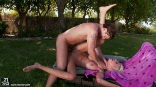 Rich breasted blonde MILF Puma Swede fucks at the backyard