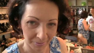 Brunette granny gets horny for young dude at the house party