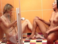 Straight haired charming Angel Piaf gonna have fun with lesbo in shower